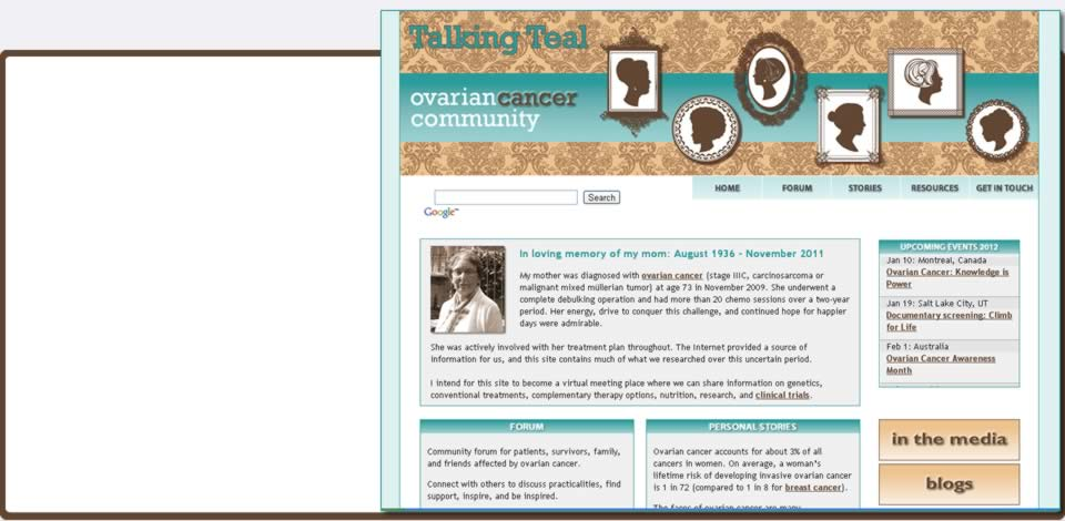 talking teal ovarian cancer community